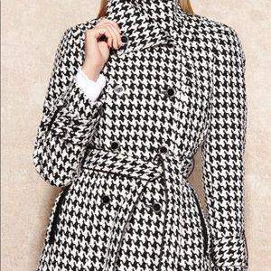 Calvin Klein Black & White Houndstooth Coat Medium